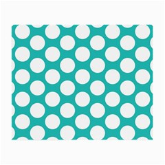 Turquoise Polkadot Pattern Glasses Cloth (small, Two Sided) by Zandiepants