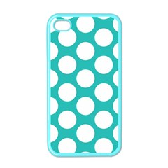 Turquoise Polkadot Pattern Apple Iphone 4 Case (color) by Zandiepants