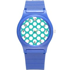 Turquoise Polkadot Pattern Plastic Sport Watch (small) by Zandiepants