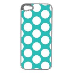Turquoise Polkadot Pattern Apple Iphone 5 Case (silver) by Zandiepants