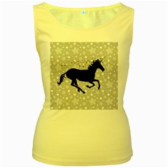 Unicorn on Starry Background Women s Tank Top (Yellow) by StuffOrSomething