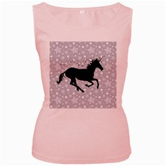 Unicorn On Starry Background Women s Tank Top (pink) by StuffOrSomething