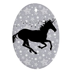Unicorn On Starry Background Oval Ornament (two Sides) by StuffOrSomething