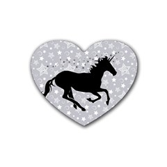 Unicorn On Starry Background Drink Coasters (heart) by StuffOrSomething