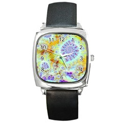 Golden Violet Sea Shells, Abstract Ocean Square Leather Watch by DianeClancy