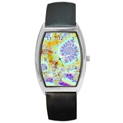 Golden Violet Sea Shells, Abstract Ocean Tonneau Leather Watch by DianeClancy
