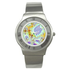 Golden Violet Sea Shells, Abstract Ocean Stainless Steel Watch (slim) by DianeClancy