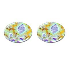 Golden Violet Sea Shells, Abstract Ocean Cufflinks (oval) by DianeClancy