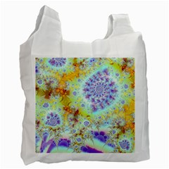 Golden Violet Sea Shells, Abstract Ocean White Reusable Bag (two Sides) by DianeClancy
