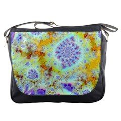 Golden Violet Sea Shells, Abstract Ocean Messenger Bag by DianeClancy