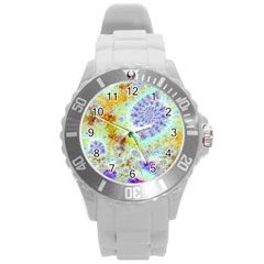 Golden Violet Sea Shells, Abstract Ocean Plastic Sport Watch (large) by DianeClancy