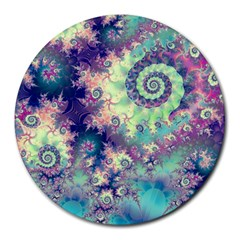 Violet Teal Sea Shells, Abstract Underwater Forest Round Mousepad by DianeClancy