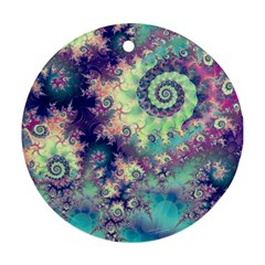 Violet Teal Sea Shells, Abstract Underwater Forest Ornament (round) by DianeClancy