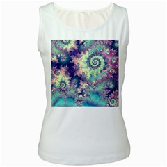 Violet Teal Sea Shells, Abstract Underwater Forest Women s Tank Top by DianeClancy