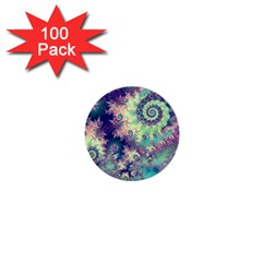 Violet Teal Sea Shells, Abstract Underwater Forest 1  Mini Button (100 Pack)  by DianeClancy