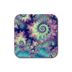 Violet Teal Sea Shells, Abstract Underwater Forest Rubber Coaster (square) by DianeClancy