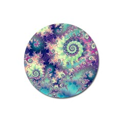 Violet Teal Sea Shells, Abstract Underwater Forest Magnet 3  (round) by DianeClancy