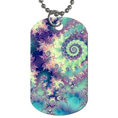 Violet Teal Sea Shells, Abstract Underwater Forest Dog Tag (one Side) by DianeClancy