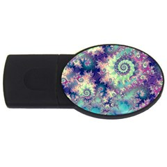 Violet Teal Sea Shells, Abstract Underwater Forest Usb Flash Drive Oval (2 Gb) by DianeClancy