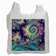 Violet Teal Sea Shells, Abstract Underwater Forest Recycle Bag (one Side) by DianeClancy