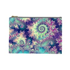 Violet Teal Sea Shells, Abstract Underwater Forest Cosmetic Bag (large) by DianeClancy