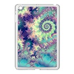 Violet Teal Sea Shells, Abstract Underwater Forest Apple iPad Mini Case (White) Front