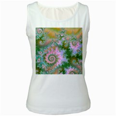 Rose Forest Green, Abstract Swirl Dance Women s Tank Top (White)