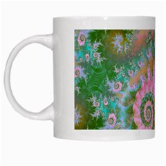 Rose Forest Green, Abstract Swirl Dance White Coffee Mug by DianeClancy