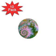 Rose Forest Green, Abstract Swirl Dance 1  Mini Button Magnet (10 Pack) by DianeClancy