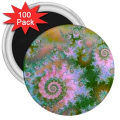 Rose Forest Green, Abstract Swirl Dance 3  Button Magnet (100 Pack) by DianeClancy