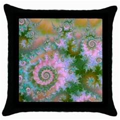 Rose Forest Green, Abstract Swirl Dance Black Throw Pillow Case by DianeClancy