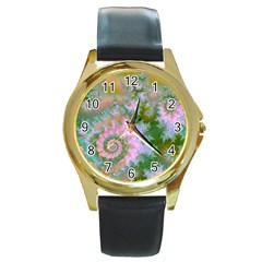 Rose Forest Green, Abstract Swirl Dance Round Leather Watch (gold Rim)  by DianeClancy