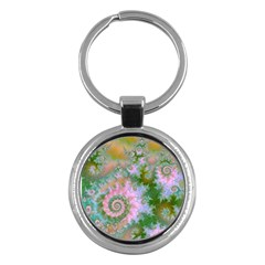Rose Forest Green, Abstract Swirl Dance Key Chain (round) by DianeClancy