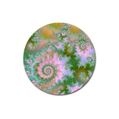 Rose Forest Green, Abstract Swirl Dance Magnet 3  (round) by DianeClancy