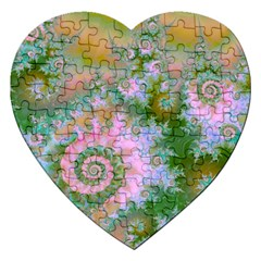 Rose Forest Green, Abstract Swirl Dance Jigsaw Puzzle (heart) by DianeClancy