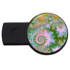 Rose Forest Green, Abstract Swirl Dance 4gb Usb Flash Drive (round) by DianeClancy