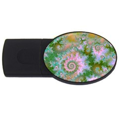 Rose Forest Green, Abstract Swirl Dance 4gb Usb Flash Drive (oval)