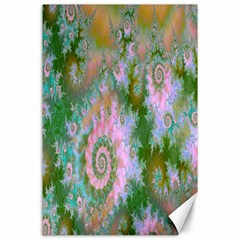 Rose Forest Green, Abstract Swirl Dance Canvas 24  X 36  (unframed) by DianeClancy