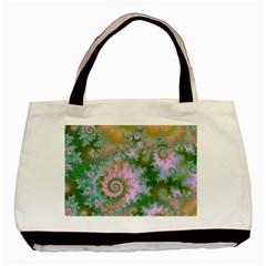 Rose Forest Green, Abstract Swirl Dance Twin Sided Black Tote Bag