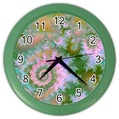Rose Forest Green, Abstract Swirl Dance Wall Clock (color) by DianeClancy