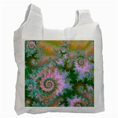 Rose Forest Green, Abstract Swirl Dance White Reusable Bag (one Side) by DianeClancy