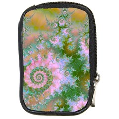 Rose Forest Green, Abstract Swirl Dance Compact Camera Leather Case by DianeClancy