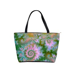 Rose Forest Green, Abstract Swirl Dance Large Shoulder Bag by DianeClancy