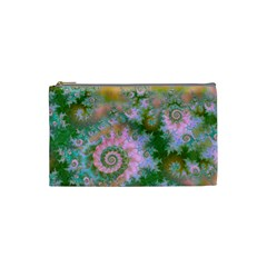 Rose Forest Green, Abstract Swirl Dance Cosmetic Bag (small) by DianeClancy