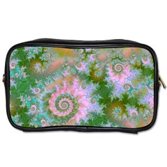 Rose Forest Green, Abstract Swirl Dance Travel Toiletry Bag (two Sides) by DianeClancy