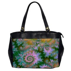 Rose Forest Green, Abstract Swirl Dance Oversize Office Handbag (one Side) by DianeClancy