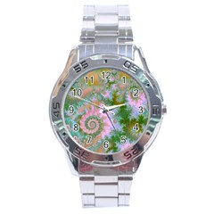 Rose Forest Green, Abstract Swirl Dance Stainless Steel Watch by DianeClancy