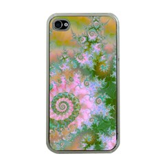 Rose Forest Green, Abstract Swirl Dance Apple Iphone 4 Case (clear) by DianeClancy