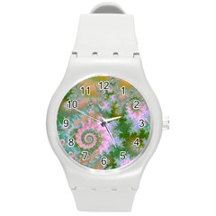 Rose Forest Green, Abstract Swirl Dance Plastic Sport Watch (medium) by DianeClancy