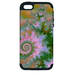 Rose Forest Green, Abstract Swirl Dance Apple Iphone 5 Hardshell Case (pc+silicone) by DianeClancy